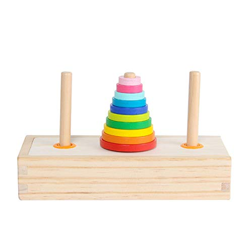 WOWOWO Torre de Hanoi, Juguetes educativos para niños, Juguete clásico de Madera de Aprendizaje temprano, Rompecabezas