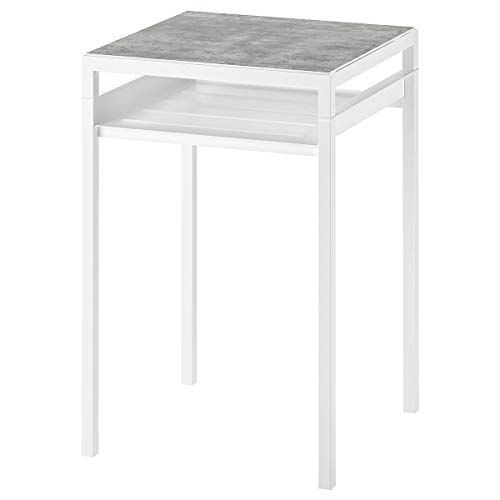 NYBODA side table w reversible table top 40x60 cm light grey concrete effect/white