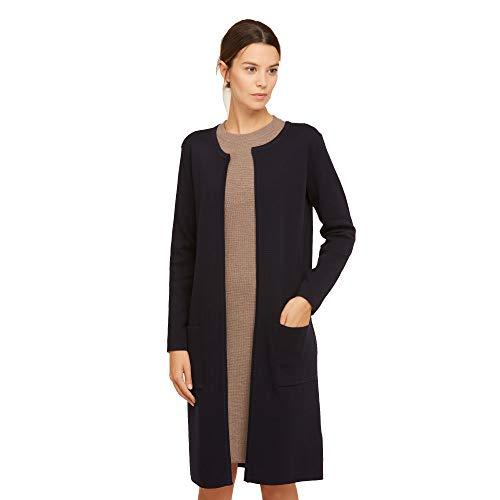 Dames lang vest van 100% extra fijne merino wol Vrouw zonder sluiting met zijzakken Kleur bleuw marine navy