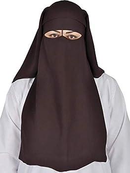 Brown Xl Long Saudi Layered Niqab Niqabs Nikab Naqaab 3 Layers Burqa Hijab Hijab Face Cover Veil Islam Islamic Dress Clothing For Muslim Women Womens Abaya Jilbab Dress