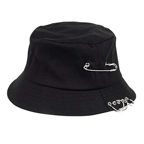 Gorra de pescador Vaeiner unisex Harajuku Punk, de algodón, con anillas de metal, estilo hip hop, pescador, color negro, tamaño Head circumference: 56-58cm(22.05-22.83in)