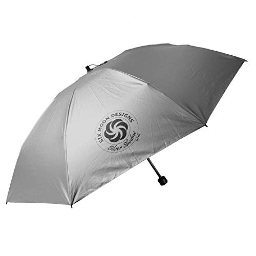 Six Moon Designs Silver Shadow Mini Compact Umbrella - Ultralight 7.1 oz - Collapsible Sun Umbrella - Great Outdoor Sun Protection That Packs Small – Easy To Travel With