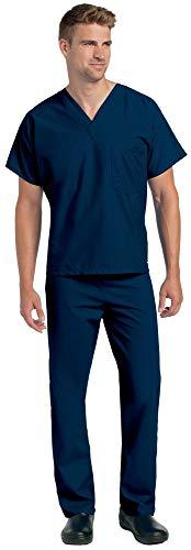 Landau Unisex V-Neck Reversible 1 Pocket Scrub Top 7502 & Drawstring Pant 7602 Classic Medical Uniform Scrubs Set (Navy - Medium/Medium)
