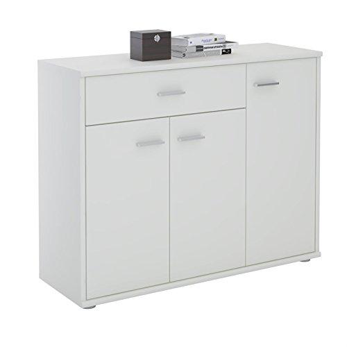 CARO-Möbel Kommode Estelle Sideboard Mehrzweckschrank, weiß mit 3 Türen und 1 Schublade, 88 cm breit