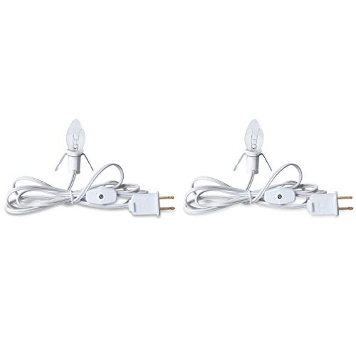 Minetom 2 Pack 6 Ft. White Cords with One Glass Light, UL-Listed Accessory Cord with On/Off Switch Plugs Into Electrical Outlet for Holiday Decorations and Lighting Small Objects