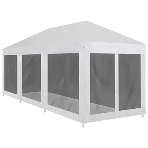 Festnight Carpa de Jardín Plegable con 8 Paredes de Malla para Celebraciones 9x3 m, Impermeable y Resistente a Los Rayos UV, Blanco y Negro