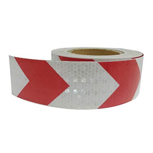 KKmoon Reflektorband Auto Reflektor Aufkleber Wasserdicht Auto Warnung Sicherheit Deko Reflexstreifen Film Auto Styling 5 cm * 300 cm Rot&Weiß