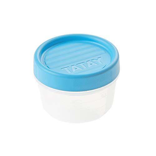 TATAY 1160700 - Contenedor de Alimentos hermético con Cierre a Rosca y medidor, transparente con tapa azul, Libre de BpA, 0,2 litros de capacidad, 8.5x8.5x6 cm