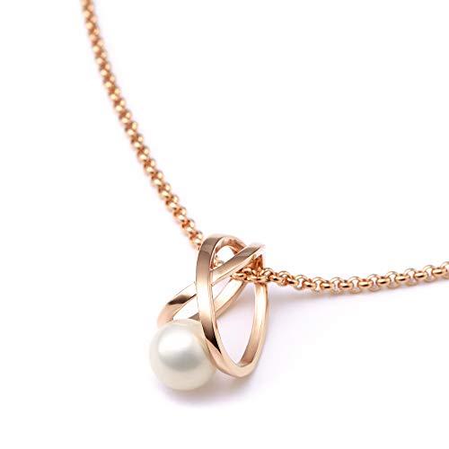 Heideman Halskette Damen Facilis aus Edelstahl Rosegold farbend matt Kette für Frauen mit Swarovski Weiss Perlenkette mit Anhänger Brautschmuck
