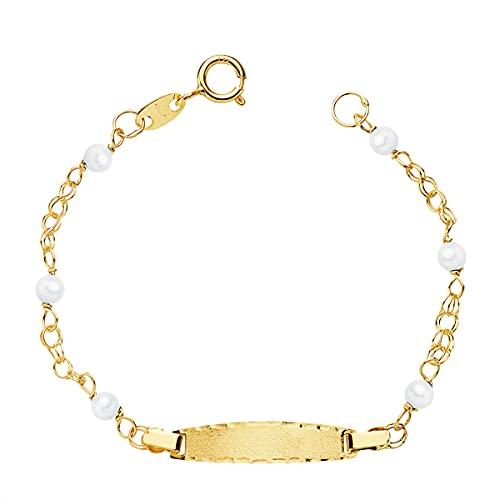 Esclava Bebé/Niña Oro Amarillo 18 ktes Perla Cult. Medida 14 cm