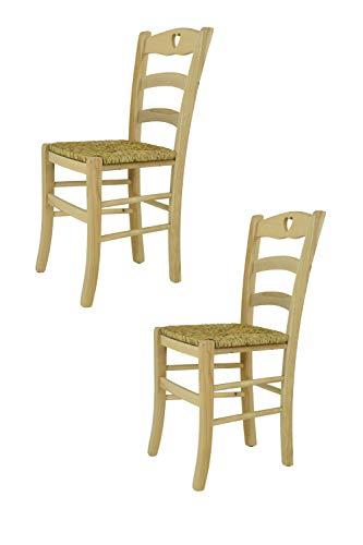 Tommychairs - Set 2 sillas Cuore para Cocina y Comedor, Estructura en Madera de Haya lijada, no tratada, 100% Natural y Asiento en Paja