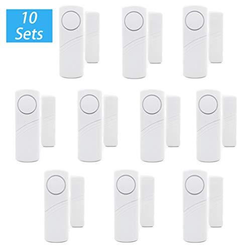 N / A Fenster und Türalarm Drahtlose Home Security Alarmanlage Einbruchschutz Fensteralarm mit Lauter 90dB Sirene (Weiß | 10pcs, 9.1 * 3.1 * 1.9cm)