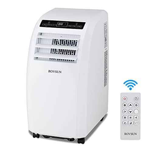 ROVSUN 12,000 BTU 3-in-1 Portable Air Conditioner, Dehumidifier, Fan, for Rooms up to 400 Sq Ft. Floor AC with Remote Control & Rolling Wheels & Window Installation Kit, White