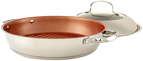 NuWave -Inch Stainless Steel Grill Pan with Lid, 11