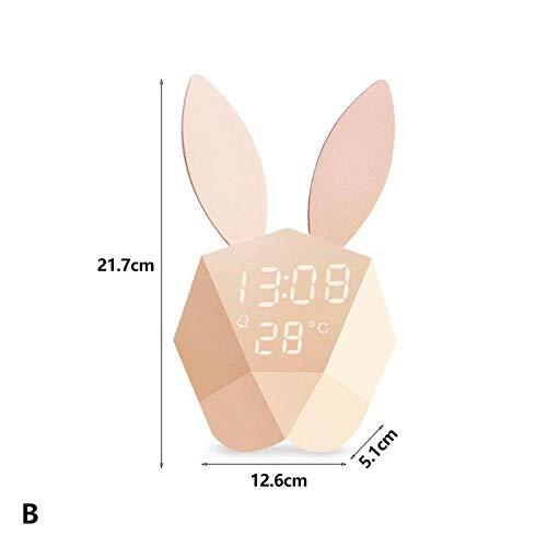 FPRW Digitale wekker, nachtlampje, oplaadbaar, met creatieve magnetische wekker, comic-thermometer, decoratie voor de kamer B
