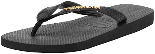 Havaianas Women's Top Logo Metallic Flip Flop Sandal, Black, 5/6 M US
