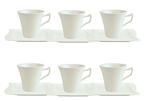 6er Set Kaffeetasse 20cl mit Kaffeeuntertasse 15cm Harmony
