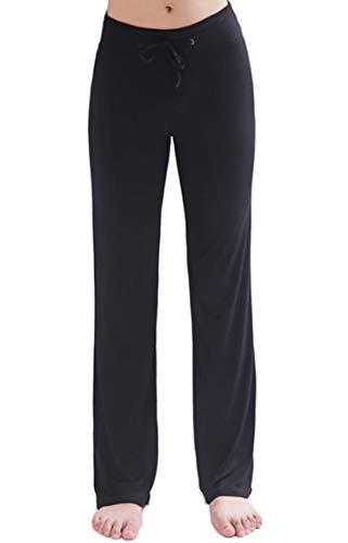 HOEREV Frauen Soft Modal Slimming Hose Yoga Hosen Pyjama-Hose, Schwarz, L