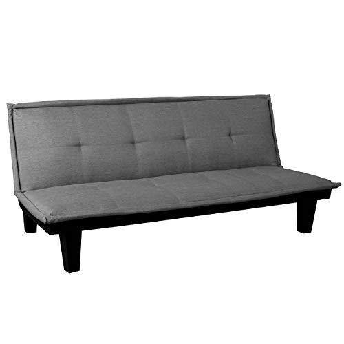 Mendler 3er-Sofa HWC-C87, Couch Schlafsofa Gästebett Bettsofa Klappsofa, Schlaffunktion 170x100cm ~ Textil, dunkelgrau