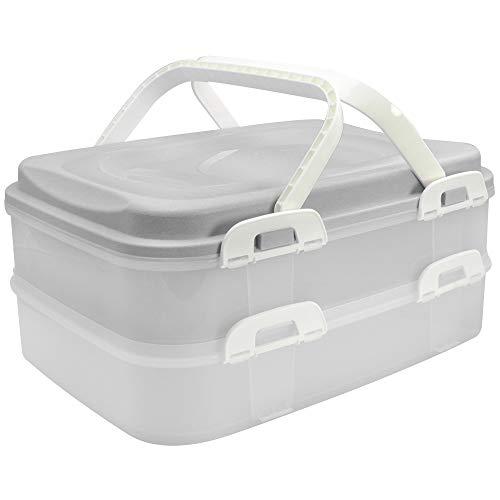 com-four® Partycontainer Transport-Box, Kuchenbehälter und Lebensmittelbox mit 2 Etagen und Hebeeinsatz, in hellgrau pastell (001 Stück - hellgrau pastell)