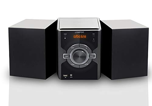 LONPOO Micro Component System Stereo HiFi Speaker 30W RMS with CD Player, Bluetooth, FM Radio, USB MP3 Playback, Aux-in & Remote Control