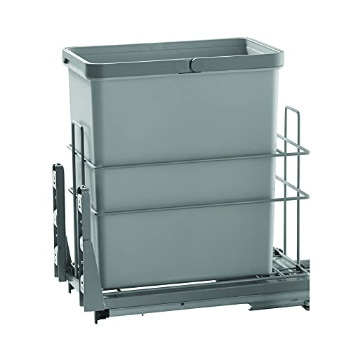 """IMEX - 30 Qt. 7.5 Gal Single Pull Out Under Mount Waste Container - Kitchen Trash Garbage Can & Bin for Under Counter Cabinet - Gray Plastic Dustbin Mountable Basket - Fits 12"""" Cabinet Opening (S)"""