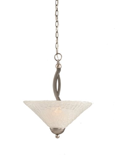 Toltec Lighting 274-BN-411 Bow Two-Bulb Uplight Pendant Brushed Nickel with Italian Bubble Glass Shade, 16-Inch