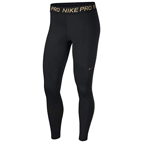 Nike Pro Leggings, Damen M Schwarz/Rot-Bronze (Black/MTLC Red Bronze)