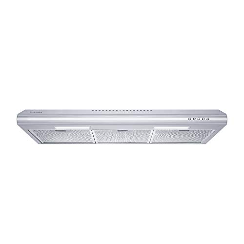 CIARRA CAS75918B 30 inch Under-Cabinet Range Hood Stainless Steel Slim Kitchen Stove Vent Hood with 200 CFM, 3 Speed Exhaust Fan, Reusable Aluminum Filters, Ducted/Ductless Convertible, Push Button