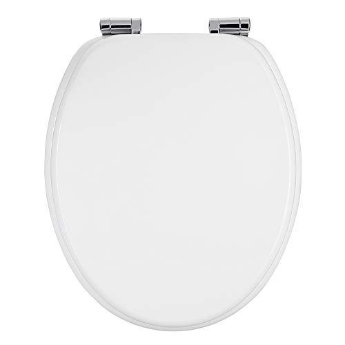 Casaria WC Sitz Toilettendeckel mit Absenkautomatik weiß Toilettensitz MDF Holz rostfreie Metall Scharniere Holz Klobrille