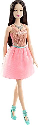 Barbie DGX83 - Fashionistas Puppe im korallfarbenen Glitzerkleid, Ankleidepuppen, Rosa