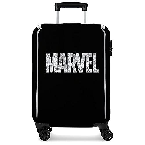Power Marvel, valigia da cabina nera, 38 x 55 x 20 cm, rigida ABS, chiusura a combinazione laterale, 34 l, 2 kg, 4 ruote doppie, bagaglio a mano