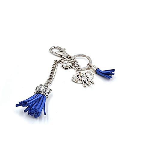 Schlüssel-Anhänger mit Schlüsselring Elefant in blau/Silber- EIN besonderes Schmuckstück, 3cm Elefantenkopf mit Ring 2,5cm Schmuck Boho