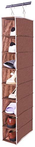 Amelitory Schuh-Organizer zum Aufhängen, 8 Ablagen, faltbar, Aufbewahrungsschrank mit 2 Metallhaken für Schuhe, Stoff, Textil, Coffee, 8-Shelf