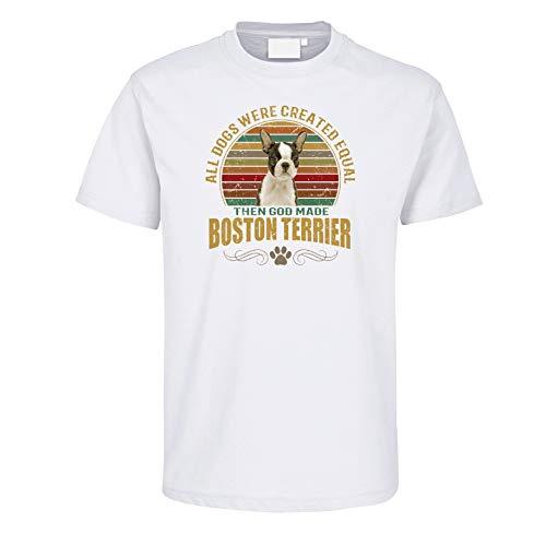 Rahmenlos - Maglietta a Maniche Corte, Motivo: Cane Boston Terrier Dog, Colore: Bianco Bianco XXXL