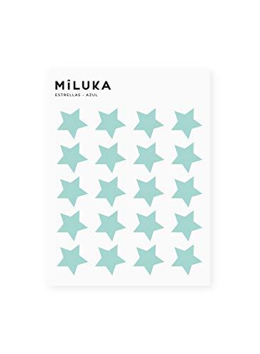 Pack de Pegatinas y Vinilos para Decoración de Pared | Estrellas | Adhesivos Decorativos Formas Geométricas Infantil | 40uds | Blanco, Negro, Rosa, Azul (Verde Agua)