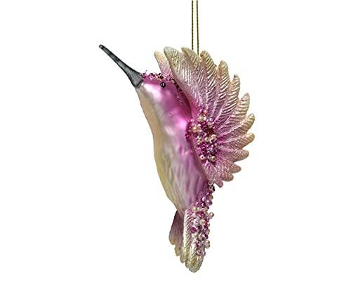 Decoris Adorno para árbol de Navidad, cristal, diseño de colibrí, 8 cm, 1 unidad, pájaro con perlas sopladas, color rosa