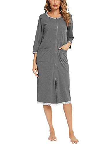 Doaraha Nachthemd Damen Baumwolle Schlafkleid kurz Nachtkleid mit Taschen 3/4 Ärmel Rundhals Nachtwäsche Negligees Schlafhemd Reißverschluss Geburt Stillnachthemd Schlafanzug