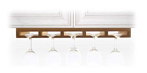 Hanging Wine Glass Goblets Champaigne Flutes Stemware Rack Holder, Made of Bamboo
