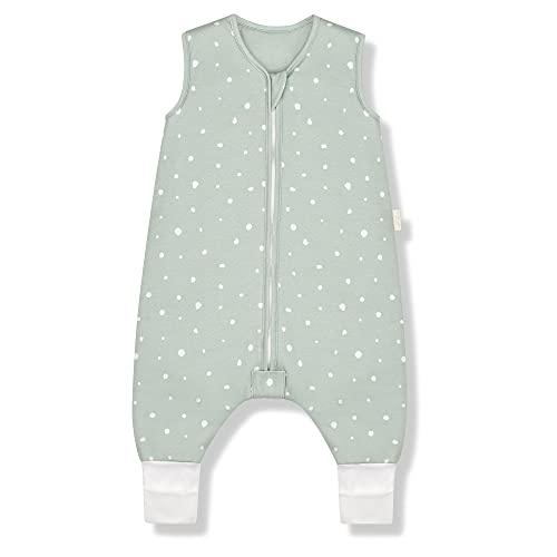 Sleeping Rebels® Baby Schlafsack mit Füßen Sommer - Sommerschlafsack mit Beinen Bio-Baumwolle - Babyschlafsack - Schlafsack Kinder - 1.0 TOG - Oeko-TEX - Premium Qualität (Sage, 90 cm)
