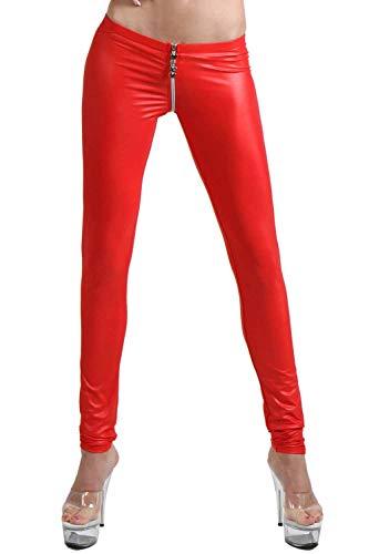 Miss Noir Damen Sexy Leggings im Wetlook Clubwear mit Zwei Wege Reißverschluss, Rot, L/XL