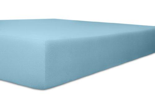 Kneer 6001036 Single Jersey Spannbetttuch Qualität 60, Größe 90/190 bis 100/200 cm, blau