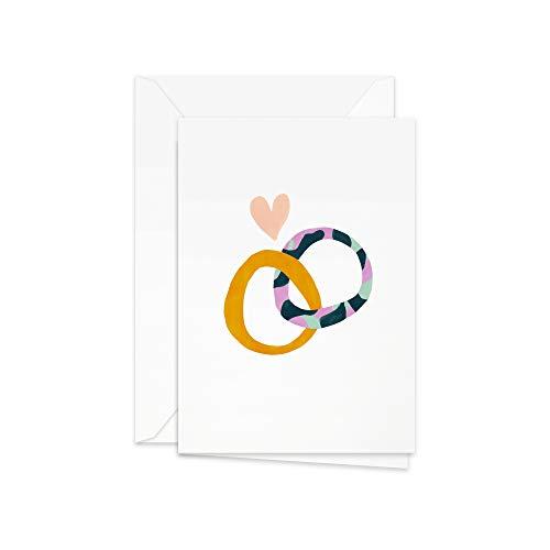 Glückwunschkarte Hochzeit A6 hochkant blanko: 2 Ringe mit Herz, Skandinavisches Design