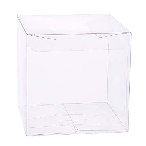 BENECREAT 20PCS PVC Caja Plegable Cajita Plástica 10x10x10cm Envase Transparente de Regalo Contenedor de Dulce Chocolate para Boda Fiesta Cumpleaños