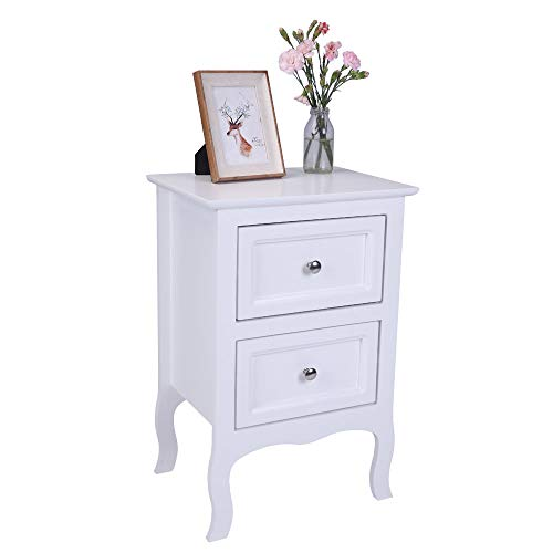 Bedside Tables,Country Style Two-Tier Night Table Large Size White