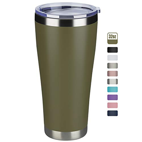 MEWAY 32oz Tumbler Double Wall Vacuum Insulated Travel Mug, Stainless Steel Coffee Tumbler with Lid, Durable Powder Coated Coffee Cup, Keep Drinks Cold & Hot (Army Green, 1)