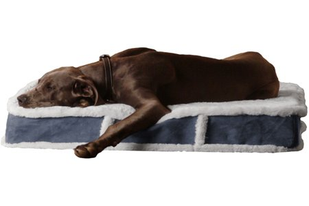K9 Ballistics K9-606 Orthopedic LUX Rectangle Bed, Medium (27'x33'x5'), Cream Fur/Blue Gray Micro