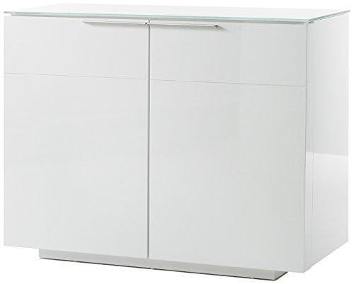 Robas Lund, Sideboard, Kommode, Canberra, Hochglanz/weiß, 98 x 41 x 76 cm, 48778W54