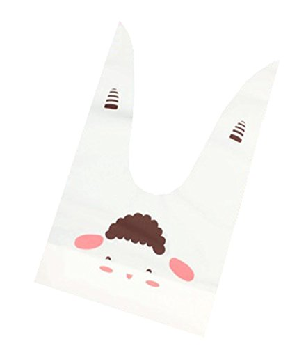 Lowest Price! DRAGON SONIC 50 Pieces Cute Rabbit Ear Bag Baking Biscuit Bag 22.5 13.5cm-A1