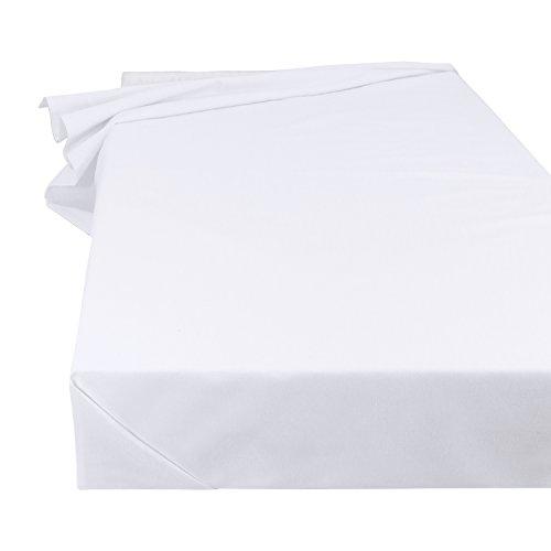 SHC Textilien Betttuch Bettlaken Haustuch Tischdecke in Weiß, Größe 150 x 250 cm aus 100% Baumwolle